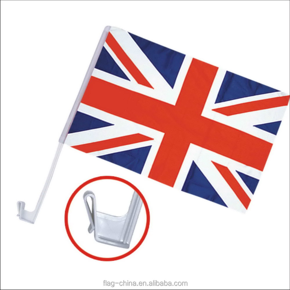 Durable flying polyester United Kingdom car flag plastic pole with clip car flag for British