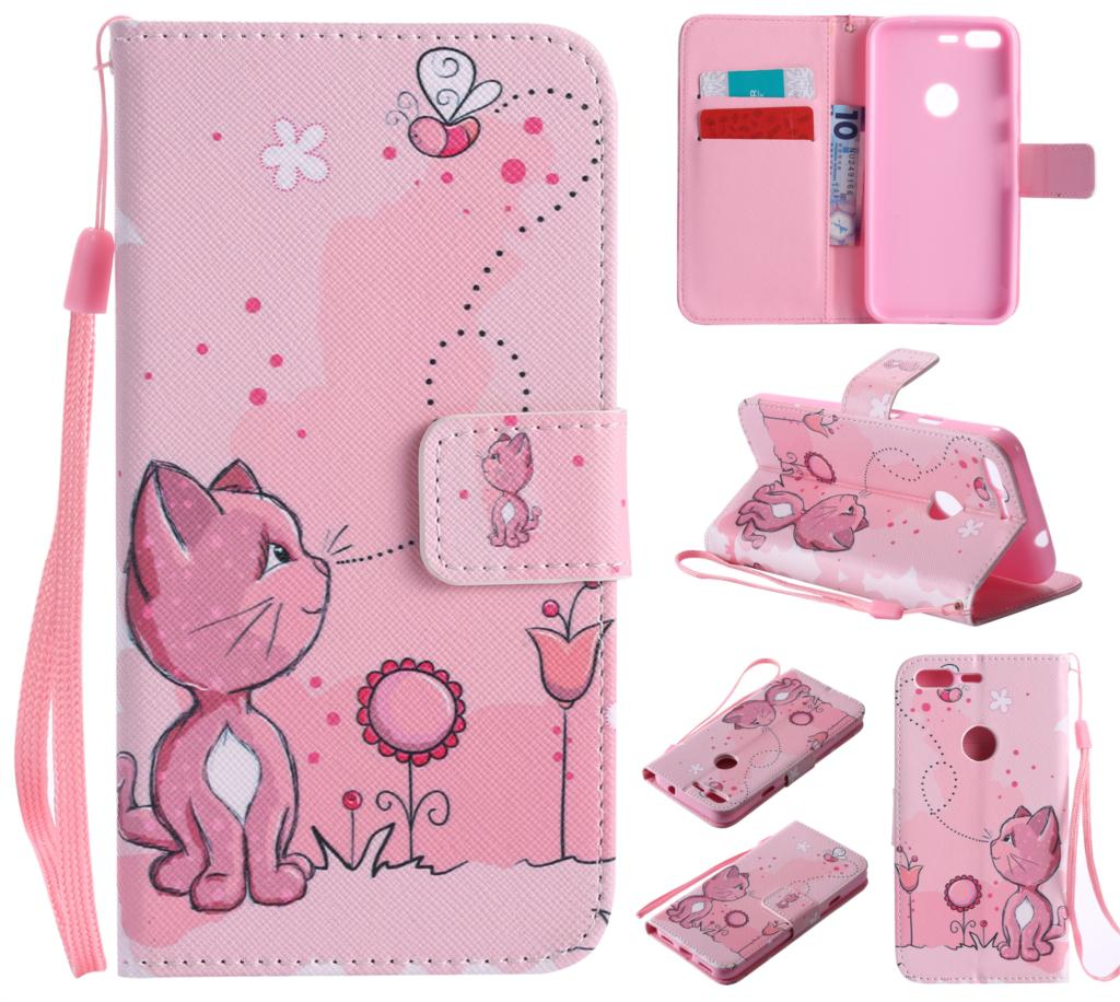 Flip Case For Google Pixel Cute Print PU Leather Wallet Phone Case For Google Pixel Child Gift Phone Coque 5.0