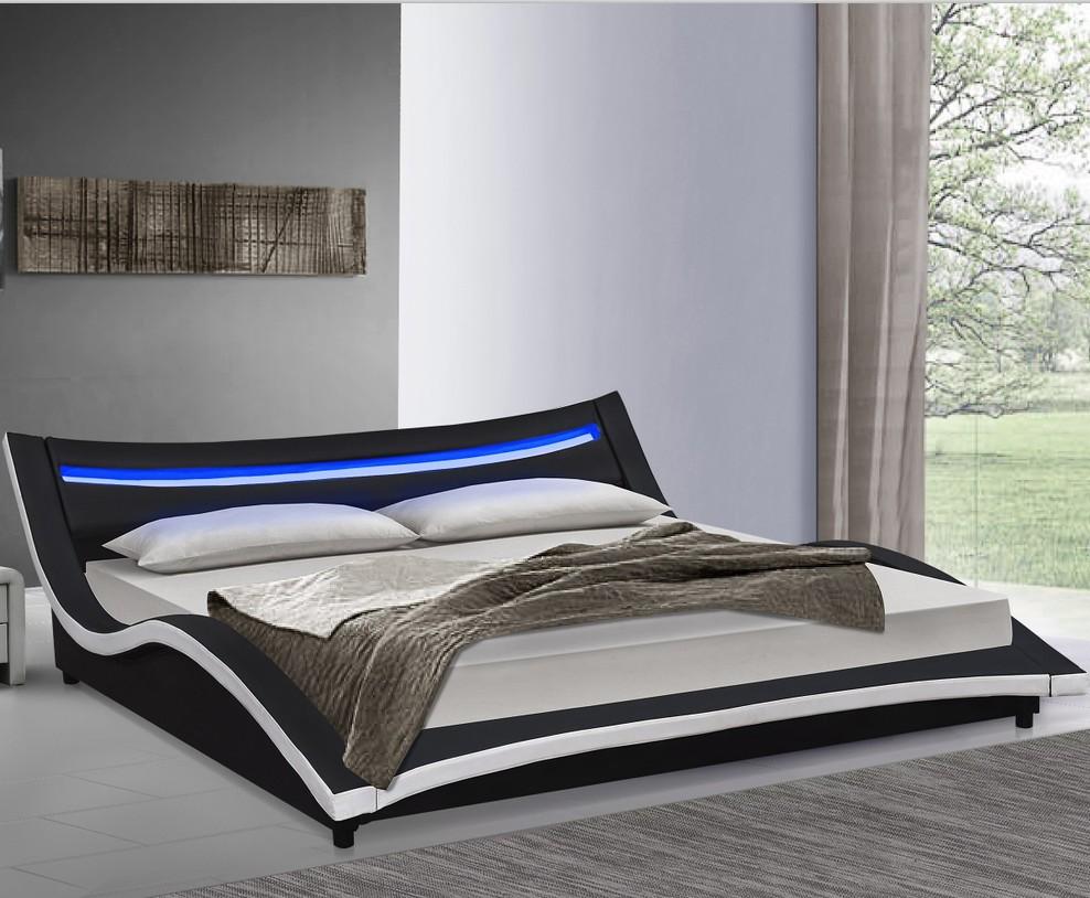 Italia stile di lusso curva letto super king size letto in pelle