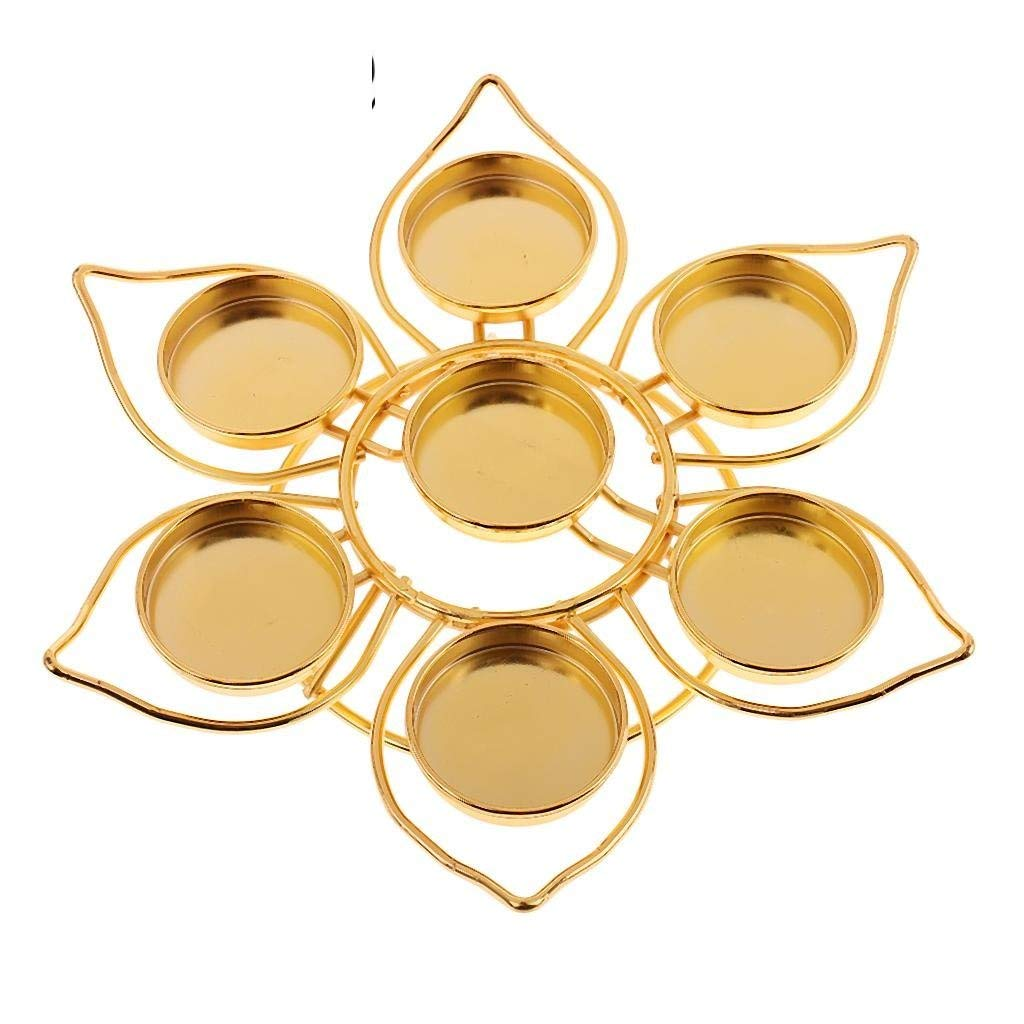 Lotus Style Alloy Butter Lamp Candle Holder Tibetan Oil Buddha Candles Craft Perfect For Buddhism Use, Good Quality