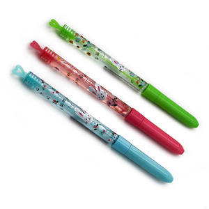 classical stained paper printing bubble ball pen heart kids blow bubble pen