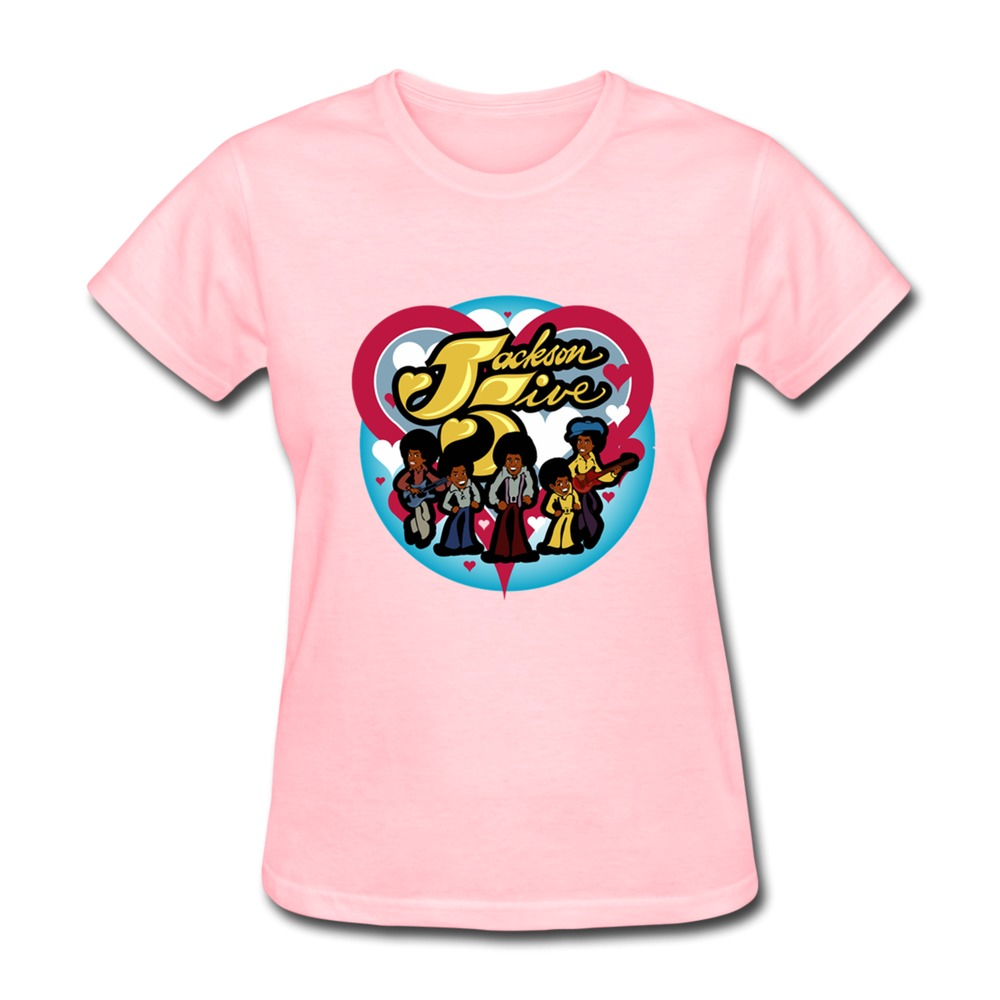 2015 Simple Style Cute Cartoon The Jackson 5 Women tshirt Short Sleeve 100% Cotton 3D T Shirts Hot Sale