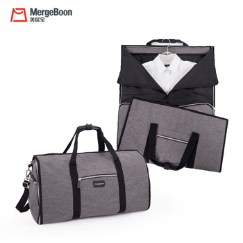 Custom free sample two in one weekend garment bag wholesale garment duffel bag for suits travel Gray