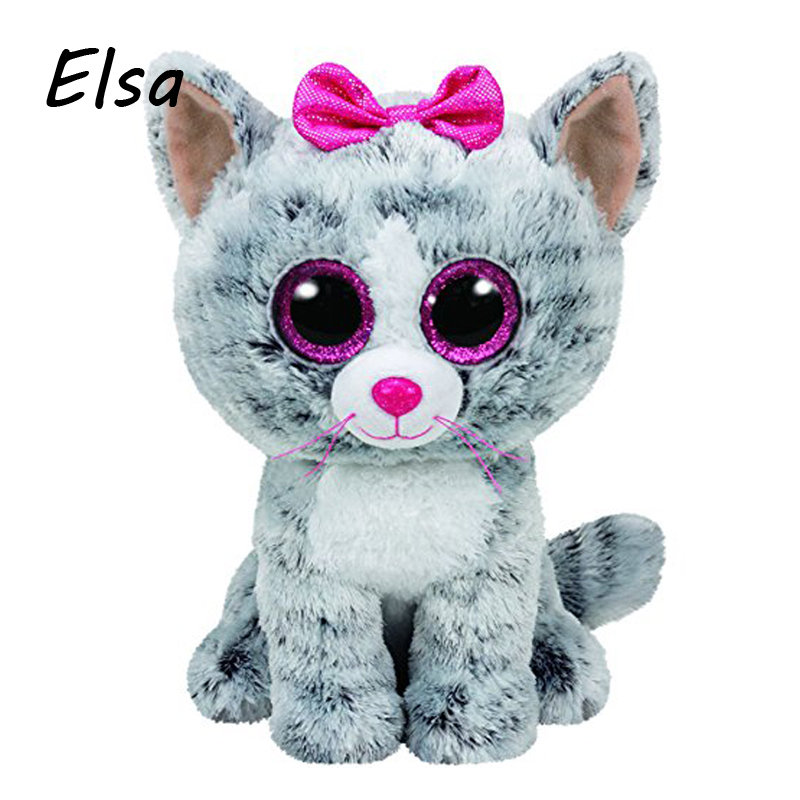 Original Ty Beanie Boos Big Eyes Plush Toy Doll Gray Cat Baby Kids Gift 10-15 cm WJ159