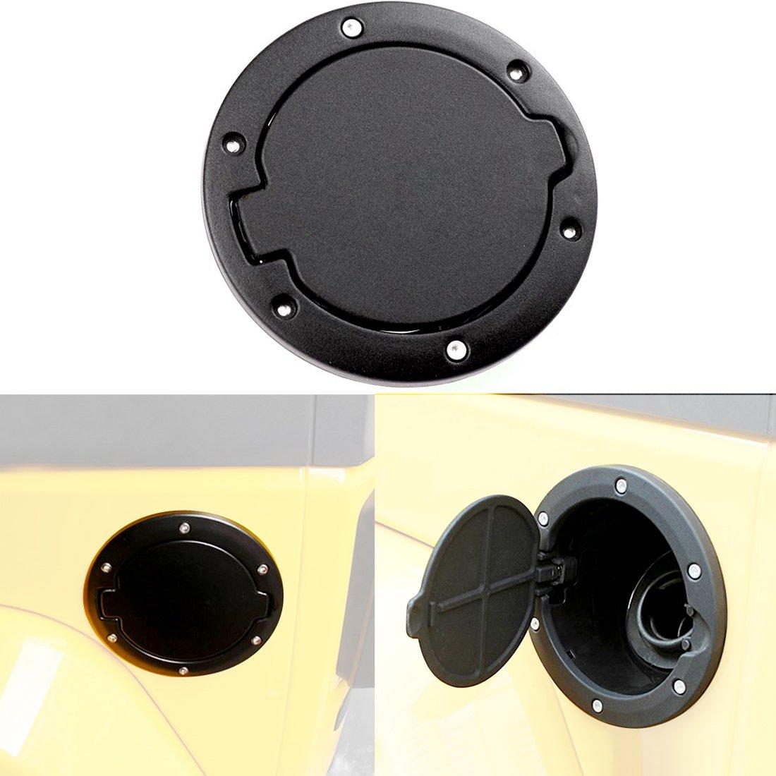 AutoOcean Black Powder Coated Steel Gas Fuel Tank Gas Cap Cover Accessories for 4 Door 2 Door 2007-2016 Jeep Wrangler JK & Unlimited