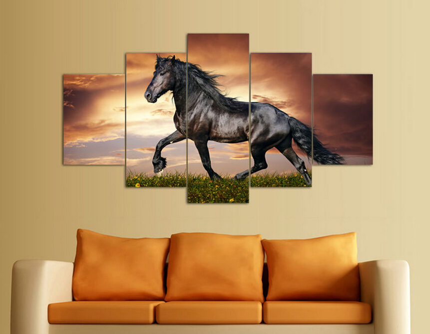 5 Panel Modern Printed Large Horse Painting Picture Animal