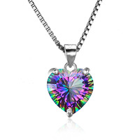 2018 Trade assurance Quartz Heart shape Pendant Necklace Vintage Design S925 Sterling Silver Charm women Jewelry wholesale