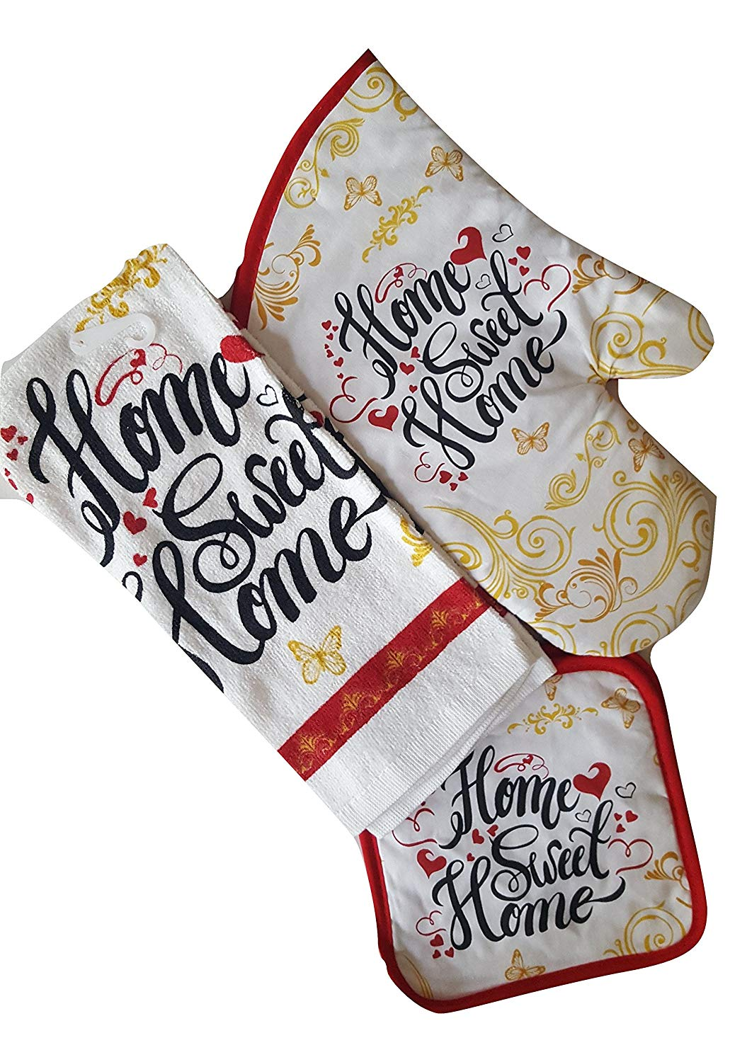 Home Sweet Home Themed Kitchen Linen Bundle Set - Four (4) Piece Set Includes One (1) Kitchen Towels, Two (2) Pot Holders, One (1) Oven Mitt