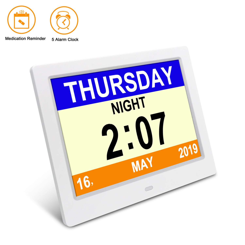 """7/""""LED Demenz Digitaler Kalender Tag Uhr Zeit Tag //Woche Monat Jahr NEU"""