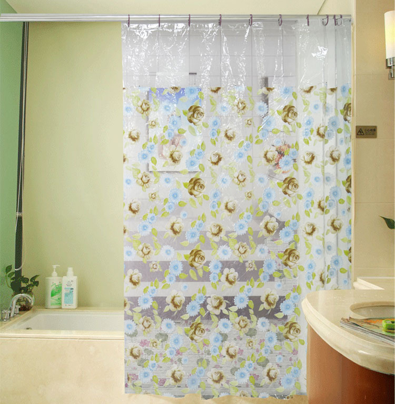 Innoplast PVC shower curtain with printed&spot&dolphin