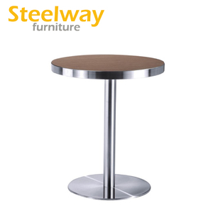 French Style stainless steel edge mahogany cafe bar tables