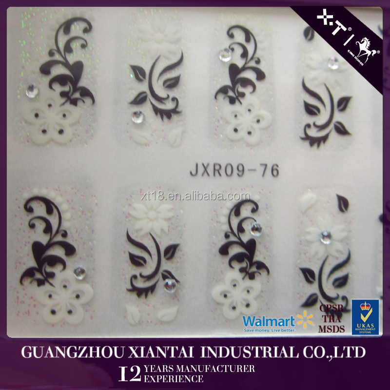 JXR09-76 Beauty white flower nail art toe stickers nail wrap printing