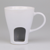 Popular black white color food grade couple cheese chocolate 300ml ceramic fondue mug with candle
