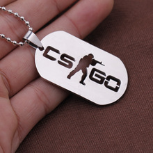Game CSGO Letter Long Necklace Men Women Friendship Stainless Steel Animation Men's Necklace CS GO Necklaces