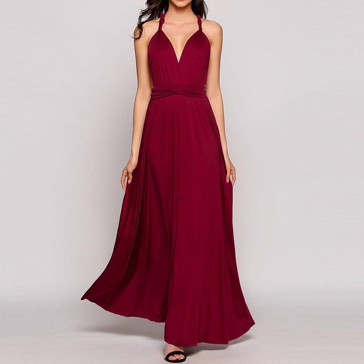 fdd8d6e92e Sleeveless multi style wine red backless maxi girls sexy night dress photos