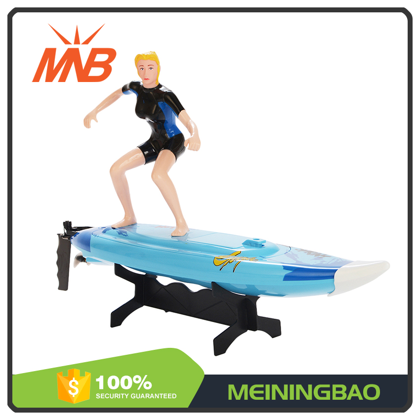 kids pool water play surfboard toy 2.4G speed model rc boat with a surfer
