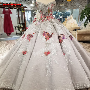 Backlakegirls 91289 new arrival sleeveless married luxury crystal long tail 3s flowers ball gown real photos wedding dress 2018
