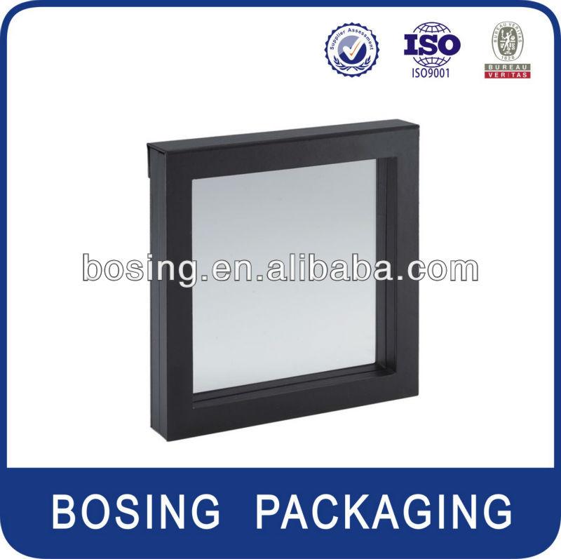 Noir 3d suspension affichage box avec fen tre pvc caisses for Fenetre pvc noir