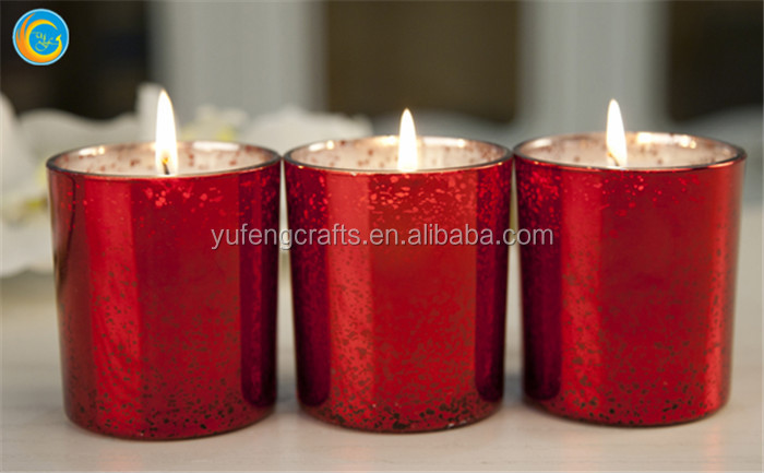 Red silver spot candle jar wedding decorations glass for Decoration wax