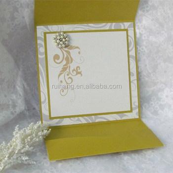 Perla Amarilla Con Papel De Etiquetas Veces Bolsillo Real Impresión Redacción Invitación De La Boda Buy Bolsillo Plegable Tarjeta De Invitación De