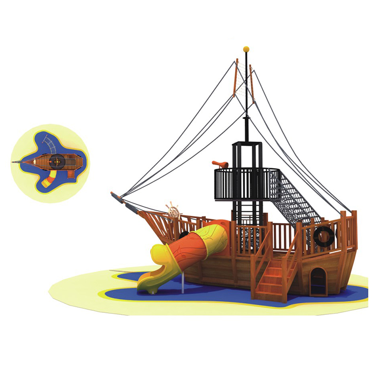 Commercial Large Pirate Ship Theme Kids Combination Outdoor Wooden Playground Equipment For Sale