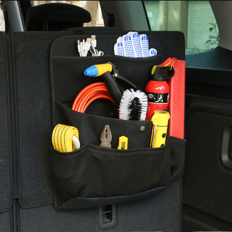 Auto car seat back hanging trunk space organizer storage bag with multi-use adjustable strap