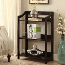 Folding small wood kids bookcase with 3 tiers shelves