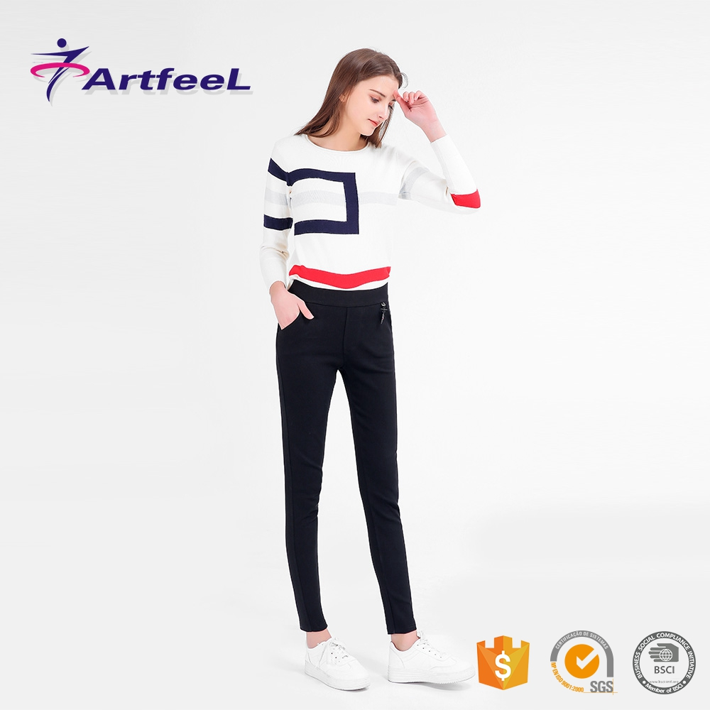 In stock ladies crew neck wholesale girls high waisted leggings