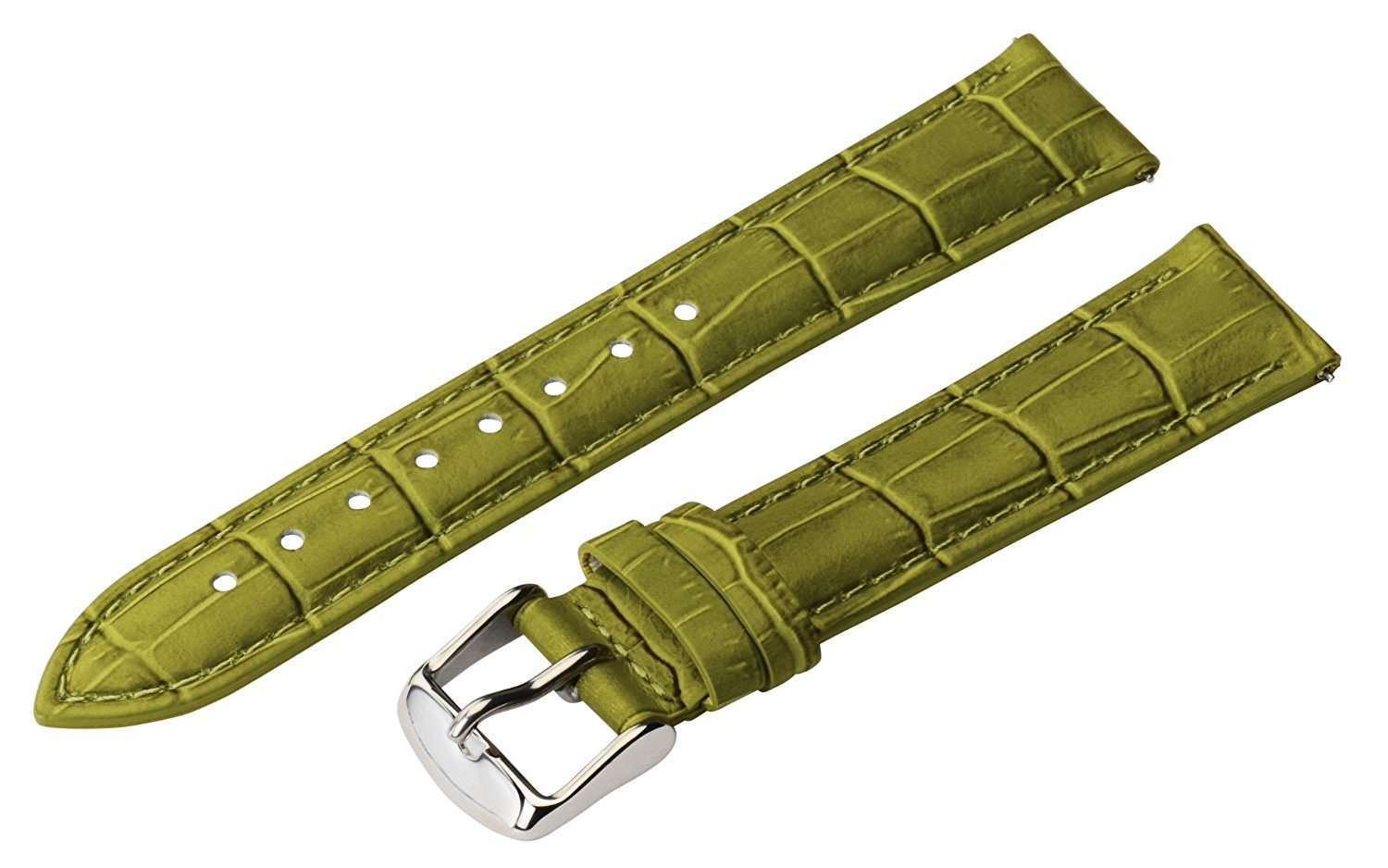 20mm 2 Piece Ss Leather Classic Croco Grain Olive Green Interchangeable Replacement Watch Band Strap