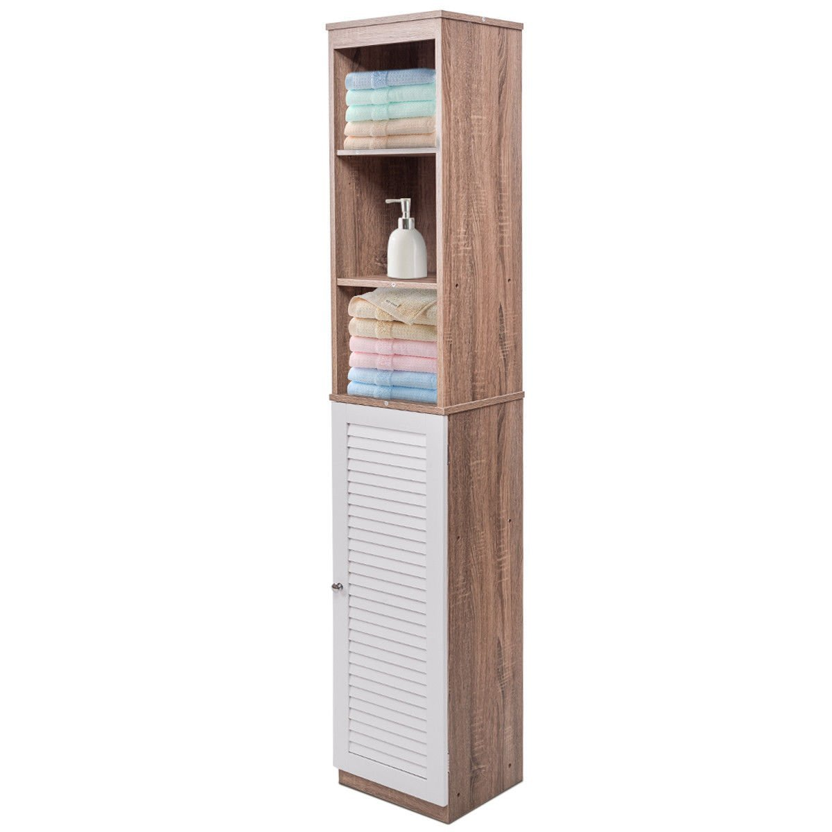 "Tower Bathroom Bedroom Shelf Organizer Storage Cabinet Louvered New 71"" Tall Wood"
