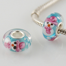 murano lampwork european beads with big hole S925 core beads fit sterling sliver beads bracelets GJ5037
