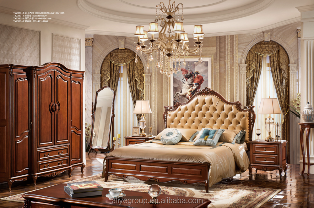 Tyzb883-1-luxury Classic King Size Wood Royal French Style Barocco ...