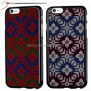 dot view design rainbow cross stitch DIY embroidery cell phone back cover case for iPhone 6/6s 4.7 inch