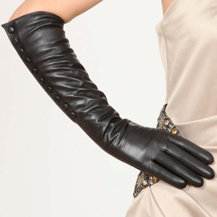 Ladies Opera Long Soft Nappa Leather Button up Gloves for Snow Winter