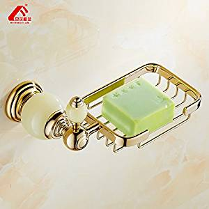 JinRou Unique design style European modern Crystal copper gold soap holder jade blue-and-white porcelain SOAP dish