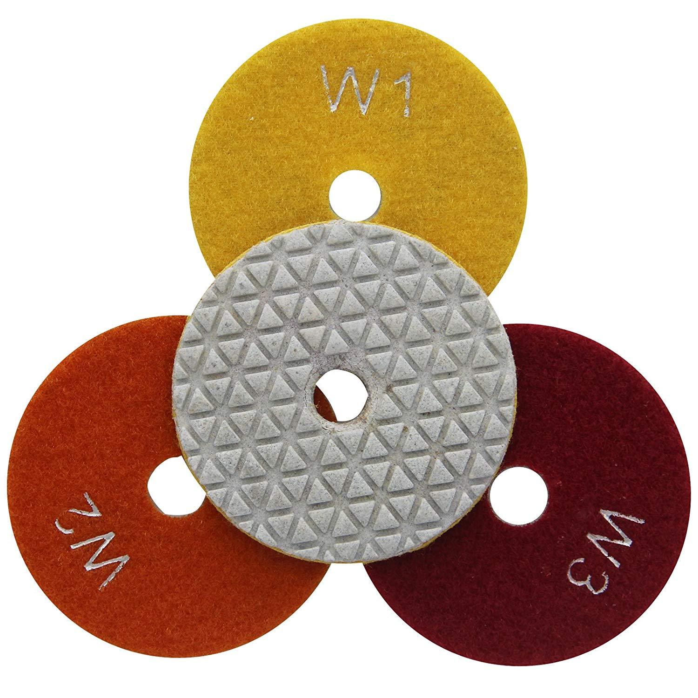 Easy Light 3 Inch Flexible Wet Diamond Polishing Pads 3-Step for Granite Marble 3 Pcs/lot