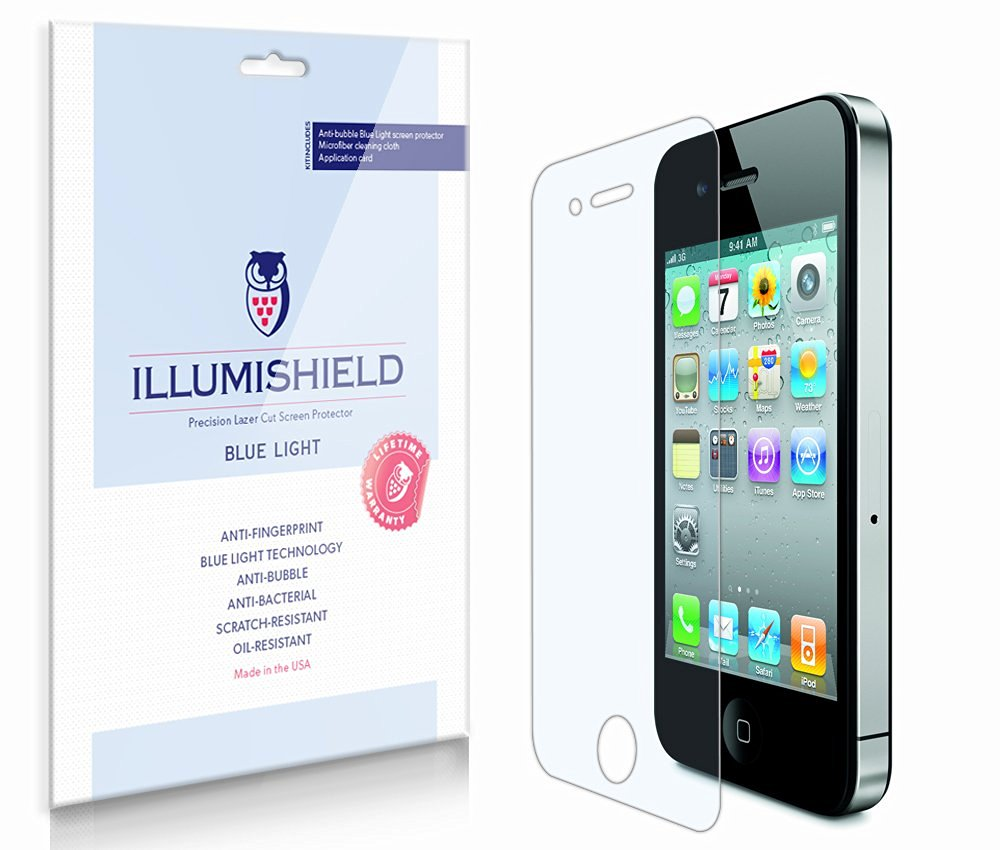 iLLumiShield – Apple iPhone 4S (Sprint) (HD) Blue Light UV Filter Screen Protector Premium High Definition Clear Film / Reduces Eye Fatigue and Eye Strain – Anti- Fingerprint / Anti-Bubble / Anti-Bacterial Shield - Comes With Free LifeTime Replacement Warranty – [2-Pack] Retail Packaging
