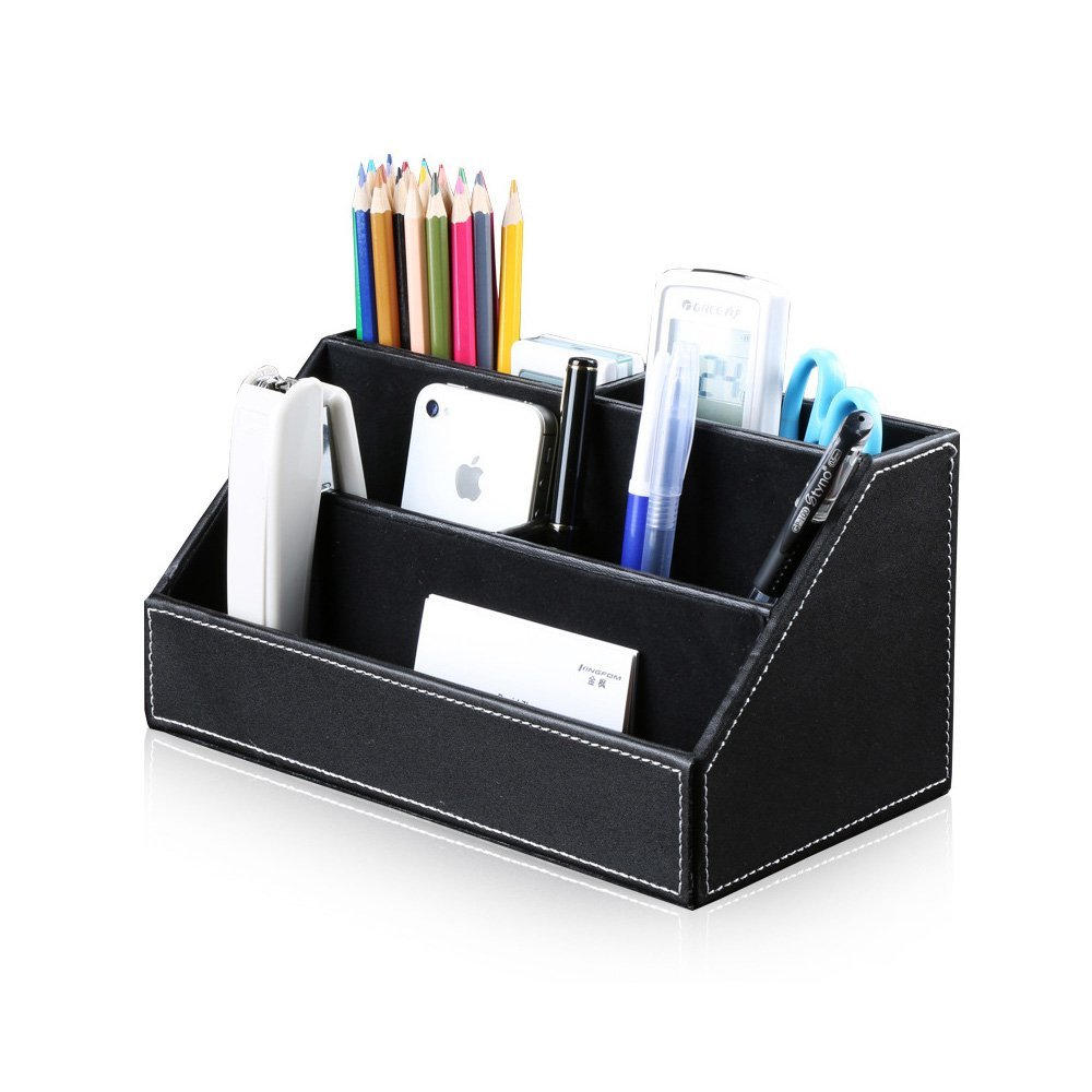 WuKong 9.4x5.3x4.7'' Multifunctional PU Leather WOOD Office Desk Organizer Business Card/Pen/Pencil/Mobile Phone/Remote Control Holder (black)