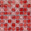 Mini square parttern ice crackle pink glass mosaic tiles red glass mosaic tile for walls