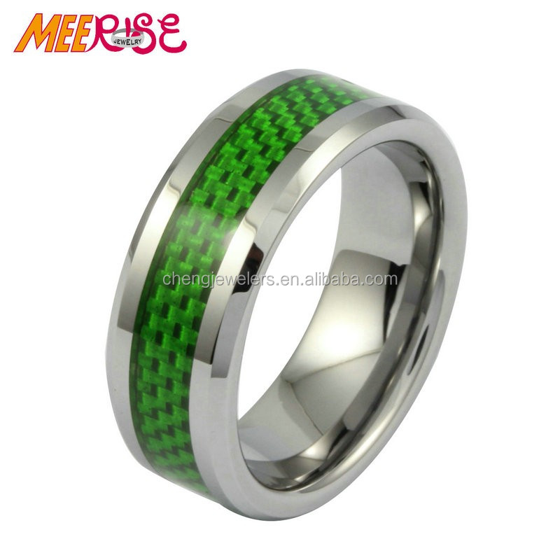 hot selling tungsten jewelry 8mm mens green paper inlay ring blank