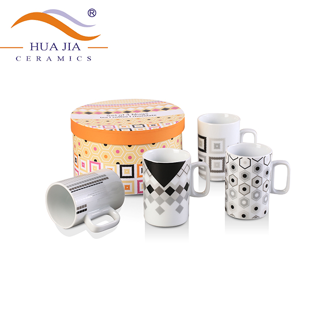 HJBD052-270 Customized ceramic stackable tea cup sets of 4 with gift box