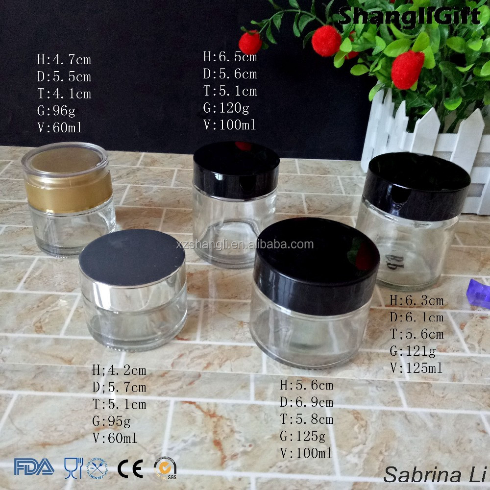 60ml 100ml 120ml high quality round shape cosmetic cream glass jars