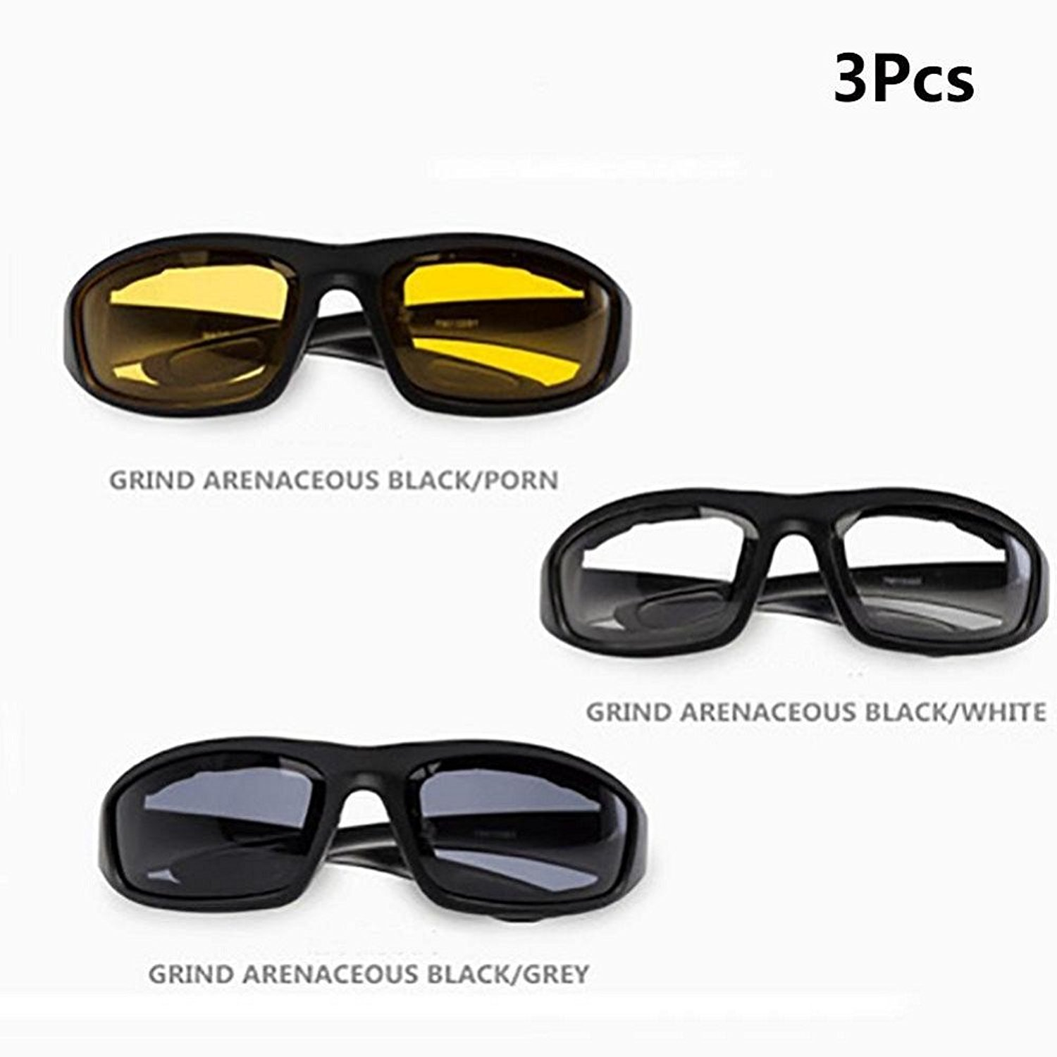 7ac10c7054 Get Quotations · Flank 3 Pcs Motorcycle Riding Glasses