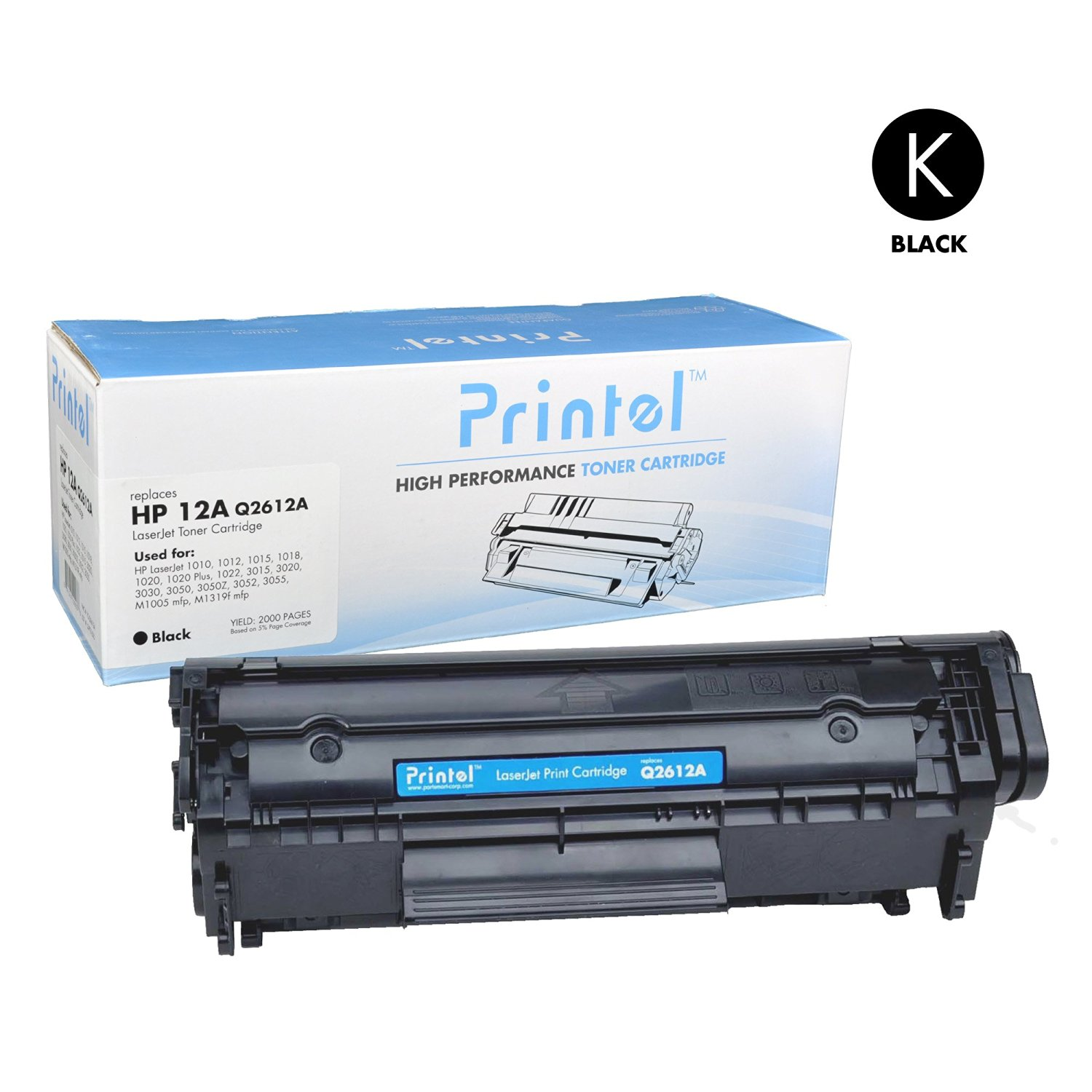 Printel Compatible Replacement for HP 12A / Q2612A Toner Cartridge works  with HP LaserJet Printer Series