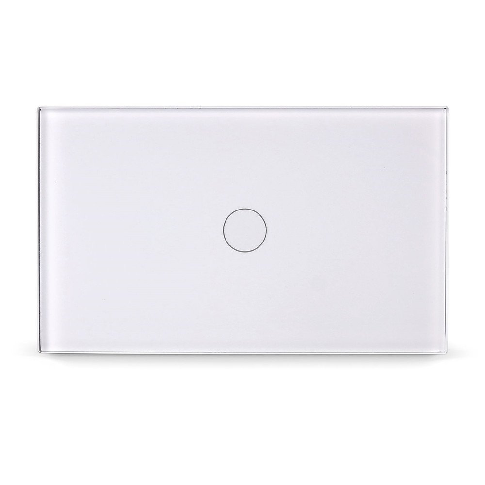 Smart Touch Switch, ONEVER 1 Gang Touch Screen Home Light Dimmer Switch Control Switch with Remote Controller, White Crystal Glass Panel (1 Gang)