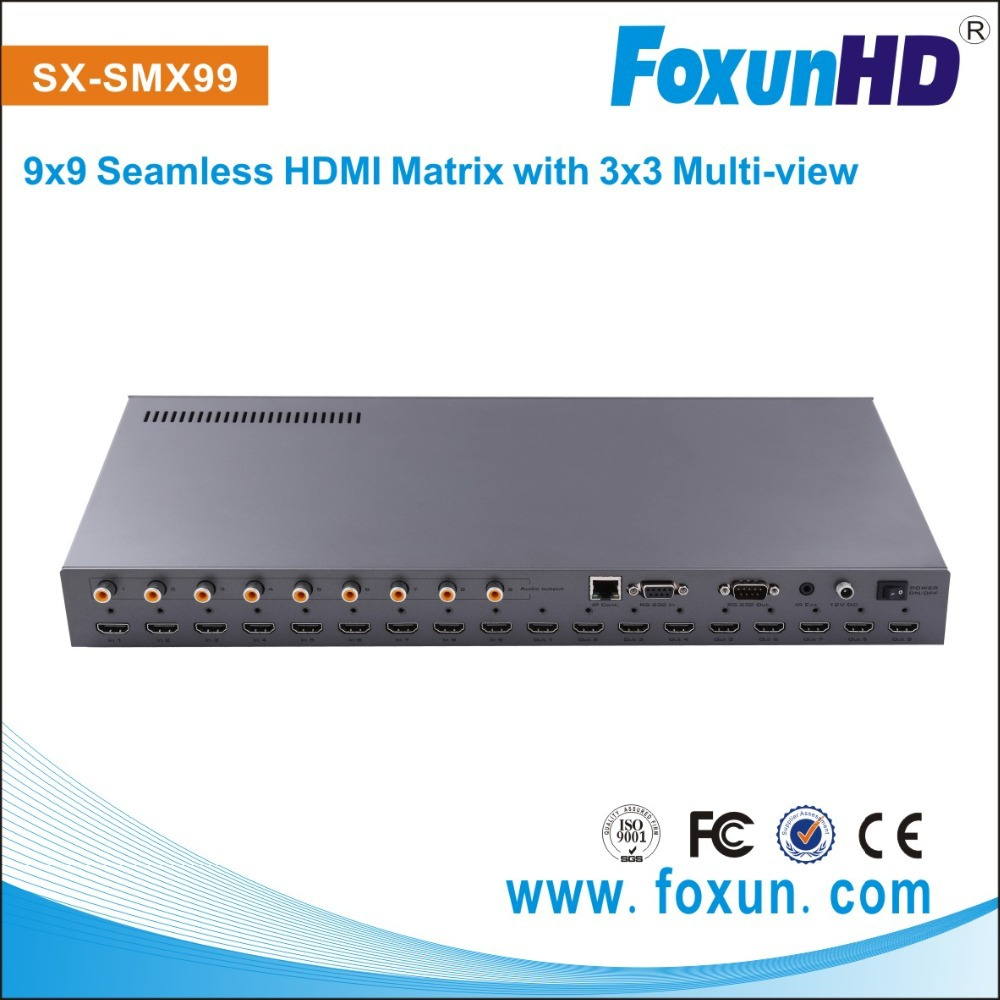 2015 Newest!!!9X9 HDMI Matrix switch, Full HD hdmi to dvi converter HDCP,support RS232, Button ,IR or Lan control