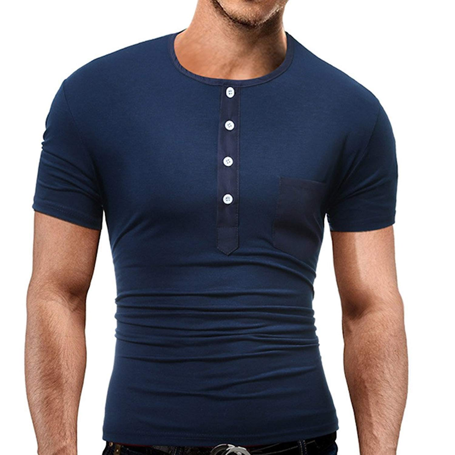 a624c5936e94 Get Quotations · JXEWW Men s Cotton Slim Fit Solid Jersey Henley Shirt  Short Sleeve Button Placket O-Neck