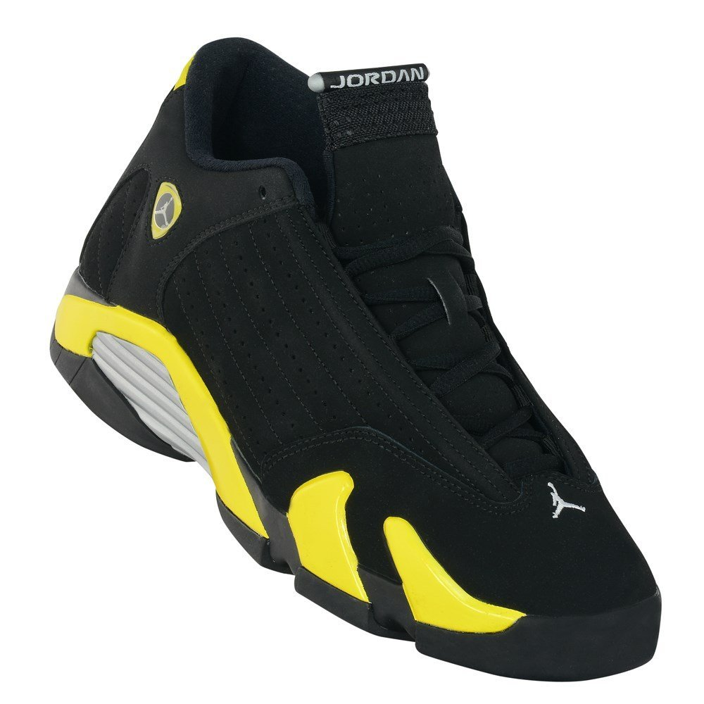 Nike Air Jordan 14 Retro Kids Shoes Black/White/Vibrant Yellow 487524-070
