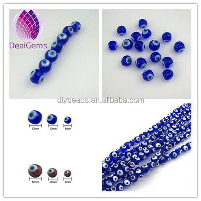 wholesale lampwork glass 6mm 8mm 10mm 12mm turkish blue evil eye beads for DIY bracelet making