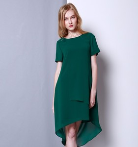 Latest designs high quality plus size summer long elegant green ruffles chiffon women casual dress